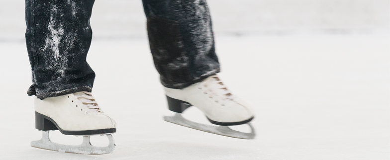 Close up image of a person iceskating