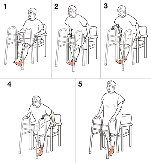 5 steps in standing with a walker (non-weight bearing)