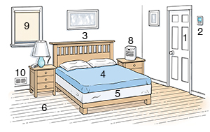 Bedroom scene showing ways to reduce allergens.