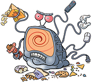 Cartoon image of a TV zombie.
