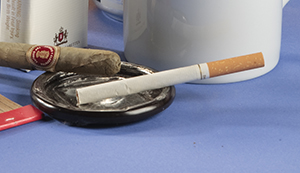 Cigarette and cigar in ashtray.
