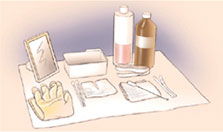Drawing of the supplies needed to clean your trach tube and stoma.