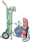Compressed oxygen tank.