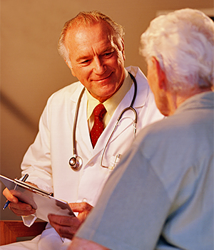 Doctor and man talking.