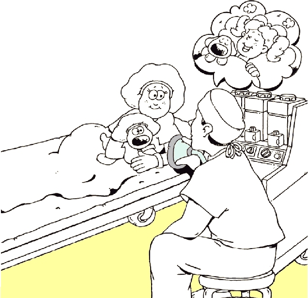 Girl on operating table talking to healthcare provider.
