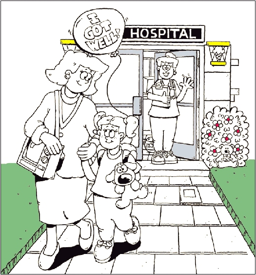 Girl and woman leaving hospital.