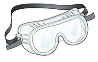 Goggles with regular ventilation