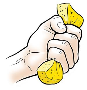 Hand squeezing sponge.