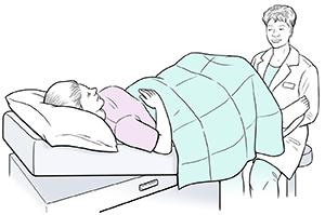 Healthcare provider giving woman a pelvic exam.