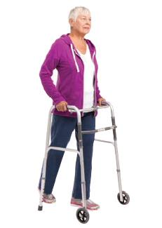 Woman walking with walker.