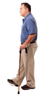 Man walking with cane.