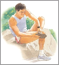 Man with tendonitis of the foot