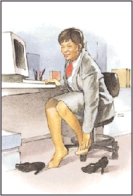 Woman rubbing her toes.