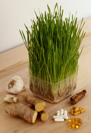 Image of vitamins, suppliments and fresh herbs and spices.