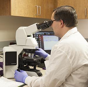 Lab technician looking through microscope.