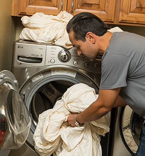 Laundry in front-load washing machine.
