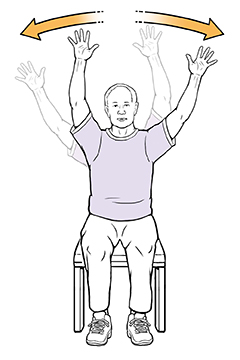 Man sitting in chair doing wave exercise.
