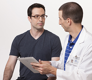 Man talking to healthcare provider.