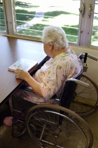 Older woman in wheelchair