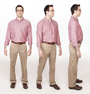 Front view of man standing with arms at sides. Three-quarter view of man taking small step to turn. Side view of man standing with arms at sides.