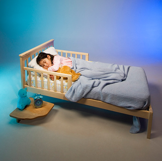 Toddler in a toddler bed with rails.