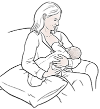Woman breastfeeding baby in cradle hold.