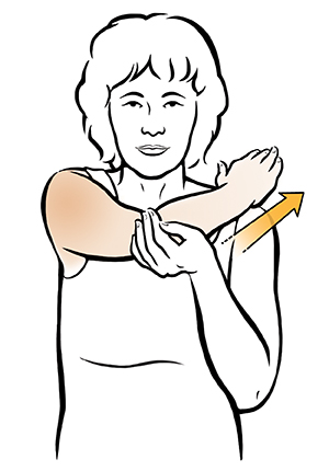 Woman doing adduction shoulder exercise.