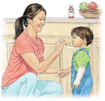 Woman giving boy liquid medicine.