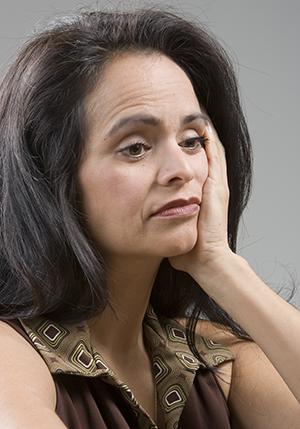 Woman looking distressed.