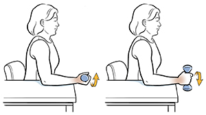 Woman sitting in chair with arm on table doing pronation exercise with hand weight.