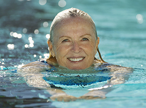 Woman swimming.