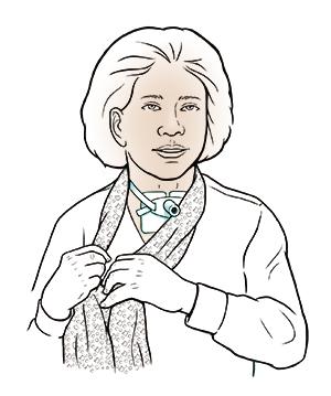 Woman with tracheostomy tube.