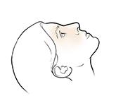 Woman's head leaning back.