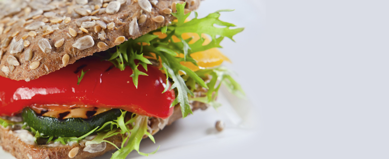 closeup image of a veggie sandwhich