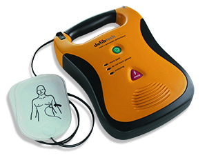 Picture shows an automated external defibrillator