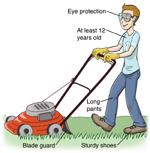 Boy safely using lawnmower. He is at least twelve years old, wearing eye protection, long pants, and sturdy shoes. Lawnmower has blade guard.
