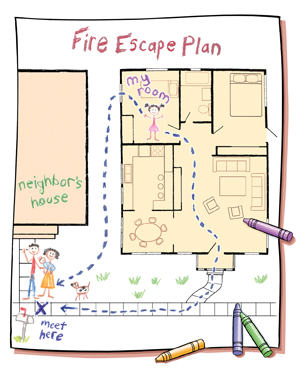Childu0027s Drawing Of House Plan With Fire Escape Route Marked. Crayons Lying  On Top Of