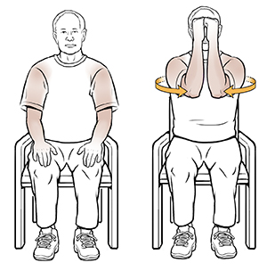 Shoulder isometric exercises saint lukes health system man sitting in chair doing shoulder isometric exercise publicscrutiny Gallery