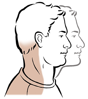 Side view of man's head showing neck glide exercise.