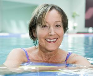 Woman in swimming pool.