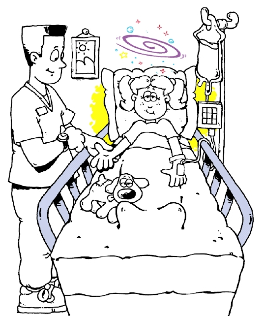 Drawing Of Child In Hospital Bed With Her Stuffed Animal Talking To A Health Care Professional