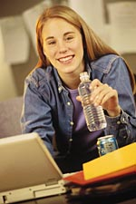 Picture of a girl sitting at a computer