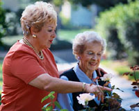 Picture of two elderly women, smiling